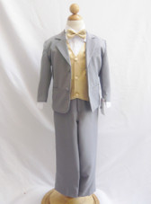 Boy Suit Gray with Gold Vest