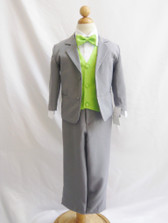 Boy Suit Gray with Green Apple Vest