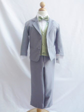 Boy Suit Gray with Green Sage Vest