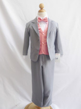Boy Suit Gray with Guava Vest