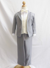 Boy Suit Gray with Ivory Vest