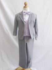Boy Suit Gray with Lilac Vest