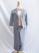 Boy Suit Gray with Peach Light Vest