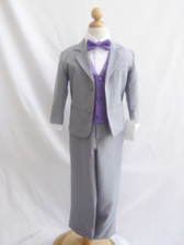 Boy Suit Gray with Purple Eggplant Vest