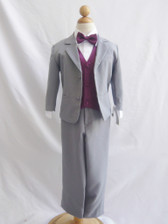 Boy Suit Gray with Purple Plum Vest