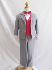 Boy Suit Gray with Red Cherry Vest