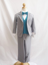Boy Suit Gray with Teal Vest