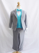Boy Suit Gray with Turquoise Vest