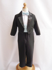 Boy Tuxedo Black with Blue Sky Cummerbund, Tie