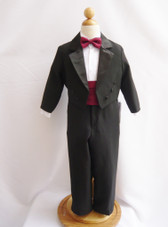 Boy Tuxedo Black with Burgundy Cummerbund, Tie