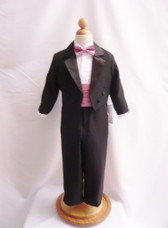 Boy Tuxedo Black with Dusty Rose Cummerbund, Tie