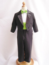 Boy Tuxedo Black with Green Apple Cummerbund, Tie