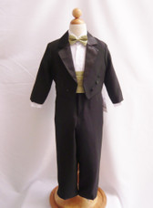 Boy Tuxedo Black with Green Sage Cummerbund, Tie