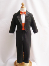 Boy Tuxedo Black with Orange Cummerbund, Tie