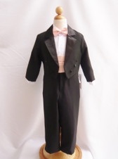 Boy Tuxedo Black with Peach Light Cummerbund, Tie