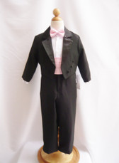 Boy Tuxedo Black with Pink Light Cummerbund, Tie