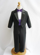 Boy Tuxedo Black with Purple Eggplant Cummerbund, Tie