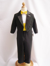 Boy Tuxedo Black with Yellow Cummerbund, Tie