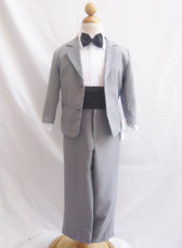 Boy Suit Grey with Black Cummerbund, Tie