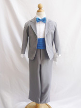 Boy Suit Grey with Blue Royal Cummerbund, Tie