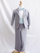 Boy Suit Grey with Blue Sky Cummerbund, Tie