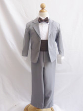 Boy Suit Grey with Brown Cummerbund, Tie