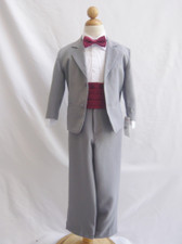 Boy Suit Grey with Burgundy Cummerbund, Tie