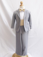 Boy Suit Grey with Champagne Cummerbund, Tie