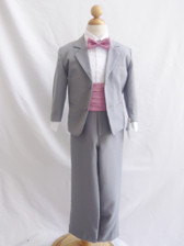 Boy Suit Grey with Dusty Rose Cummerbund, Tie