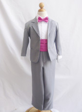 Boy Suit Grey with Fuchsia Cummerbund, Tie