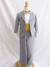 Boy Suit Grey with Gold Cummerbund, Tie