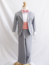 Boy Suit Grey with Guava Cummerbund, Tie