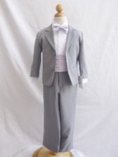 Boy Suit Grey with Lilac Cummerbund, Tie