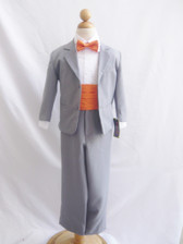 Boy Suit Grey with Orange Cummerbund, Tie
