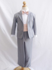 Boy Suit Grey with Peach Light Cummerbund, Tie
