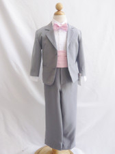 Boy Suit Grey with Pink Light Cummerbund, Tie