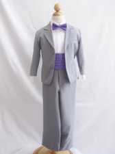 Boy Suit Grey with Purple Eggplant Cummerbund, Tie