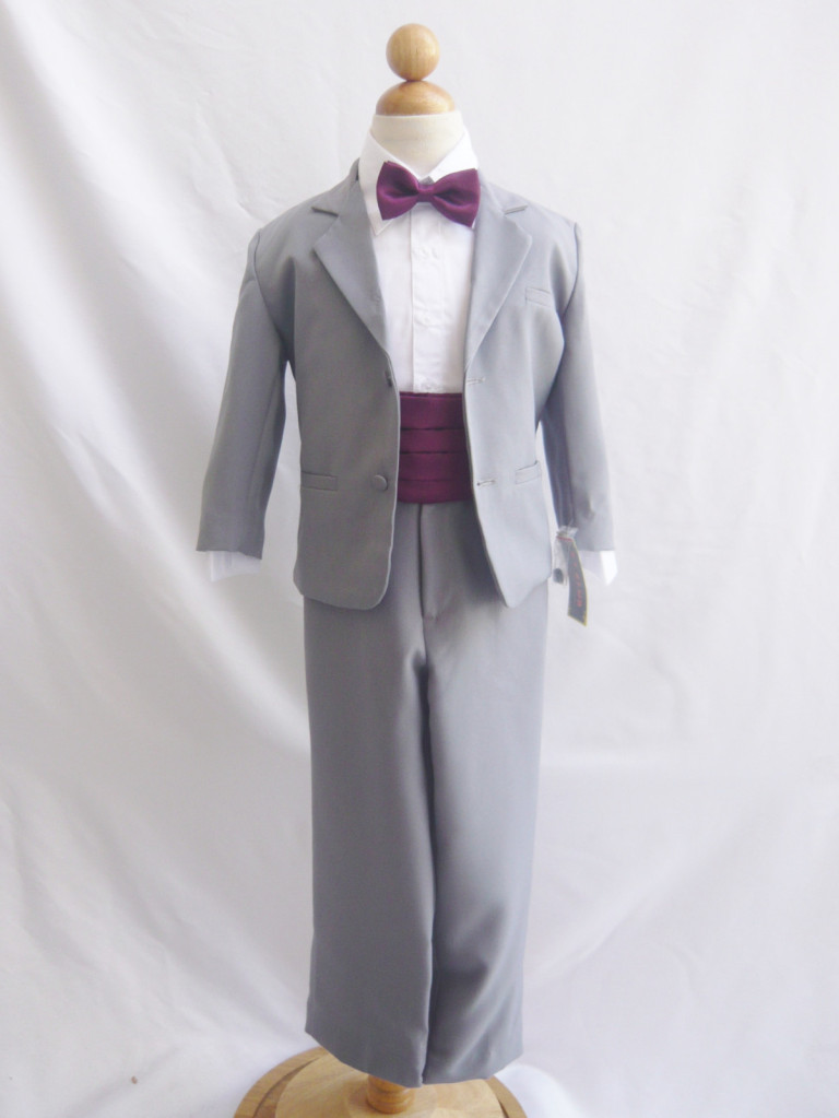 exceptional range of colors lovely luster fine craftsmanship Boy Suit Grey with Purple Plum Cummerbund, Tie