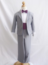 Boy Suit Grey with Purple Plum Cummerbund, Tie