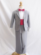 Boy Suit Grey with Red Cherry Cummerbund, Tie