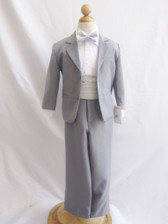 Boy Suit Grey with Silver Cummerbund, Tie