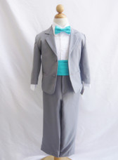 Boy Suit Grey with Turquoise Cummerbund, Tie