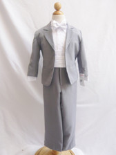 Boy Suit Grey with White Cummerbund, Tie
