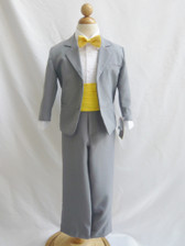 Boy Suit Grey with Yellow Cummerbund, Tie