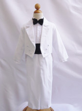 Boy Suit White with Black Cummerbund, Tie