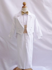 Boy Suit White with Champagne Cummerbund, Tie
