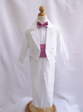 Boy Suit White with Dusty Rose Cummerbund, Tie