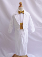Boy Suit White with Gold Cummerbund, Tie
