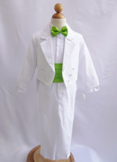 Boy Suit White with Green Apple Cummerbund, Tie