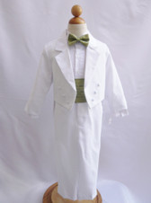 Boy Suit White with Green Sage Cummerbund, Tie